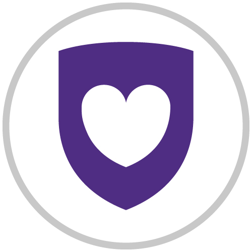 Icon depicting a purple shield with a white heart in the foreground.