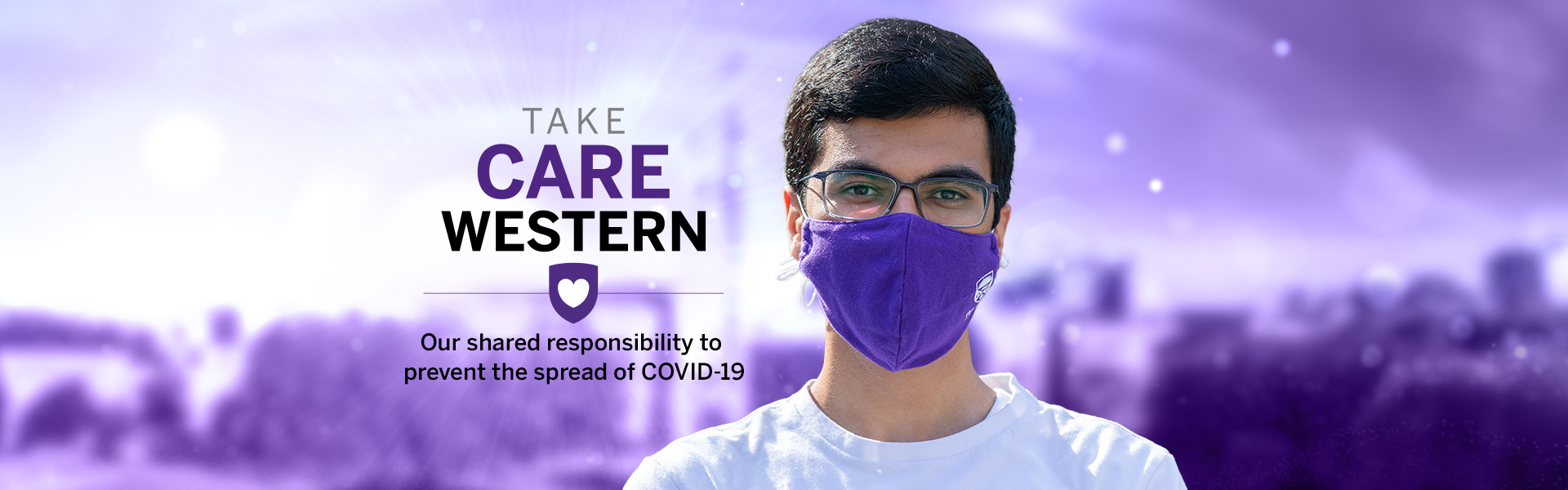 Take Care Western, featuring a photo of a student wearing a purple mask